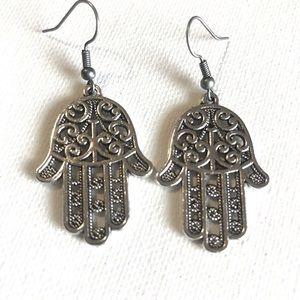 Jewelry - Hamsa Hand Earrings Silver Dangle